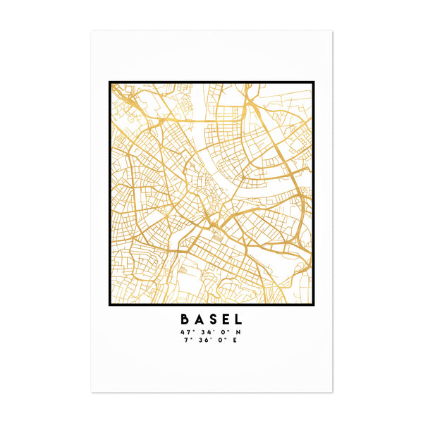 Minimal Basel City Map Art Print
