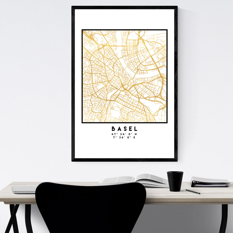 Minimal Basel City Map Framed Art Print
