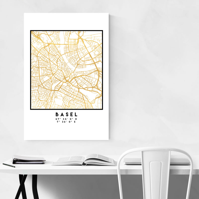 Minimal Basel City Map Metal Art Print