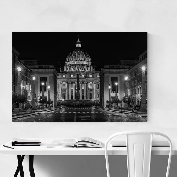 Black & White Rome Vatican City Art Print