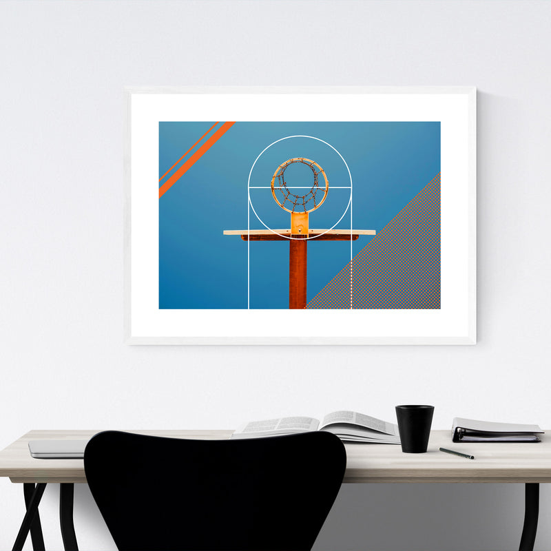 Basketball Sports Geometric Hoop Framed Art Print