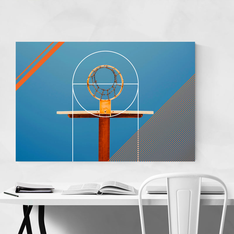 Basketball Sports Geometric Hoop Canvas Art Print