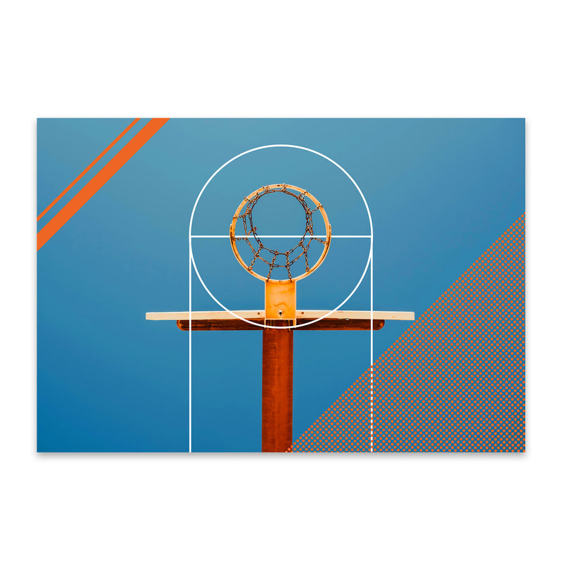 Basketball Sports Geometric Hoop Metal Art Print