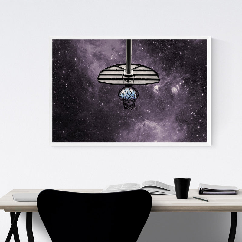 Basketball Space Photo Sports Framed Art Print