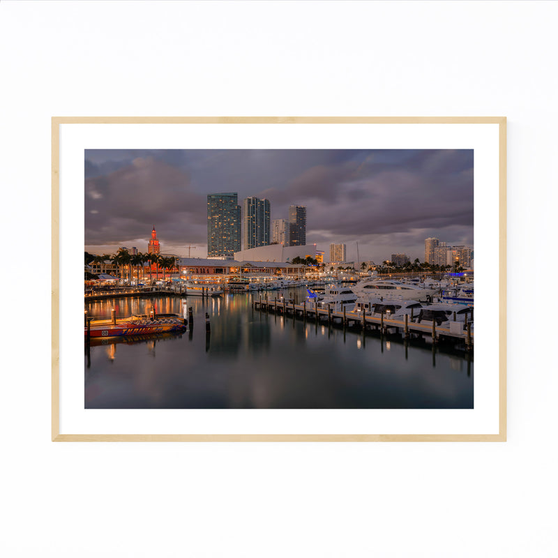 Miami Florida City Skyline Night Framed Art Print