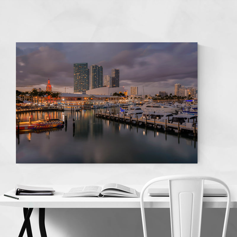 Miami Florida City Skyline Night Canvas Art Print