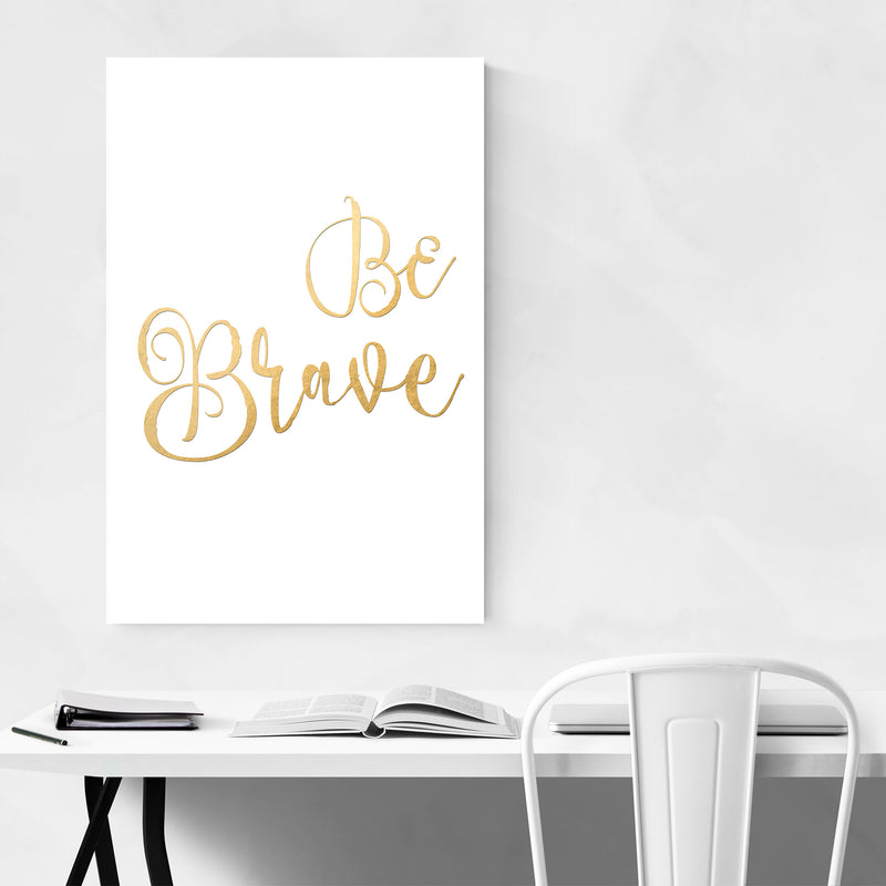 Gold Inspirational Typography Metal Art Print