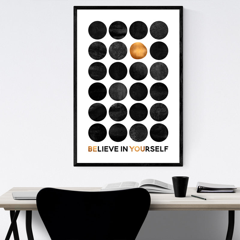Believe in Yourself Typography Framed Art Print