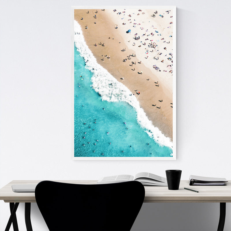 Aerial Beach Waves Photography Framed Art Print
