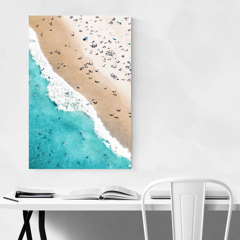 Aerial Beach Waves Photography Canvas Art Print