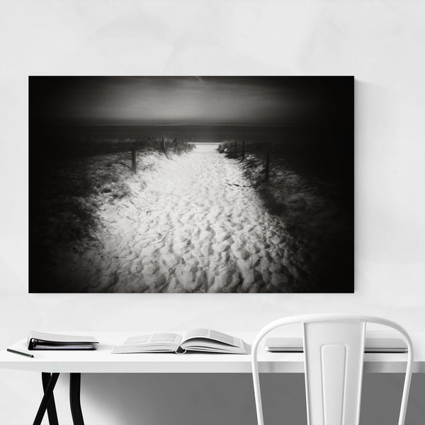 Black White Beach Path Nature Art Print