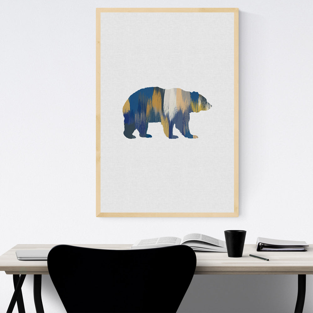 Bear Animal Nature Illustration Framed Art Print