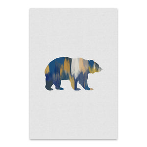Bear Animal Nature Illustration Metal Art Print