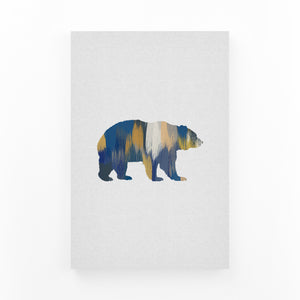Bear Animal Nature Illustration Mounted Art Print