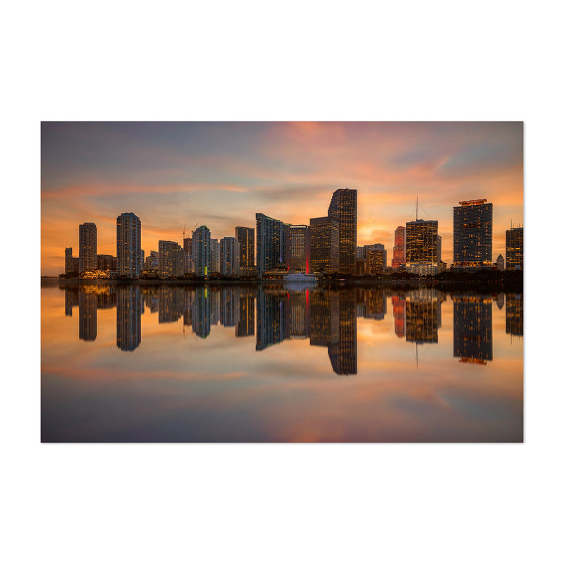 Miami Florida Skyline Sunset Art Print