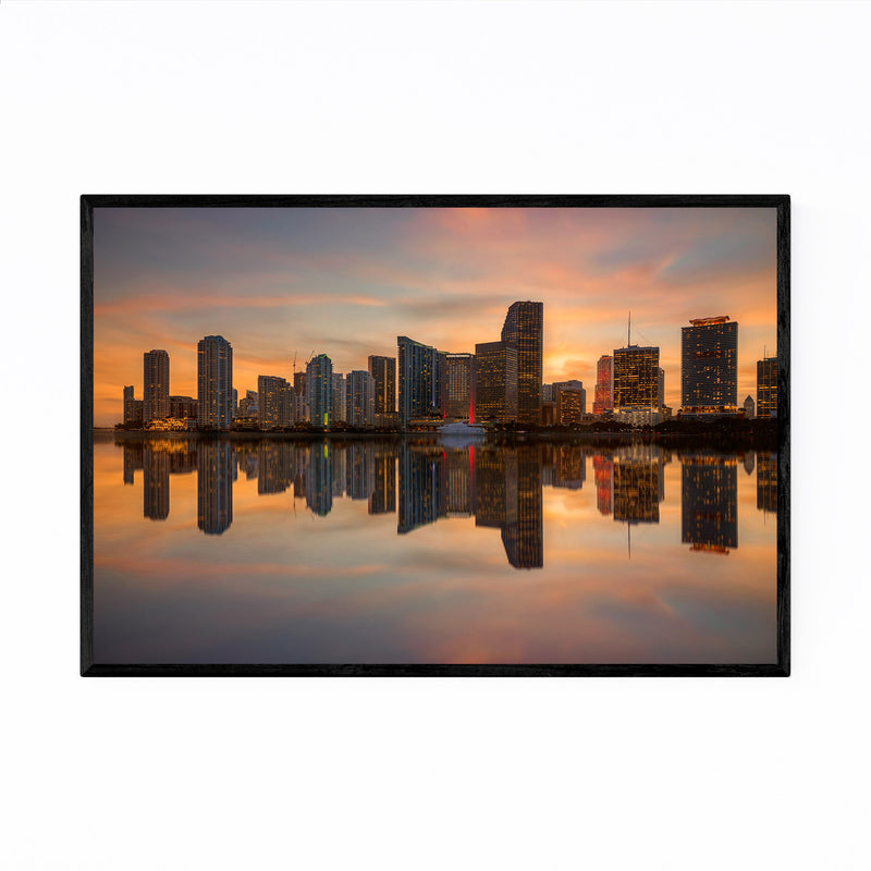 Miami Florida Skyline Sunset Framed Art Print