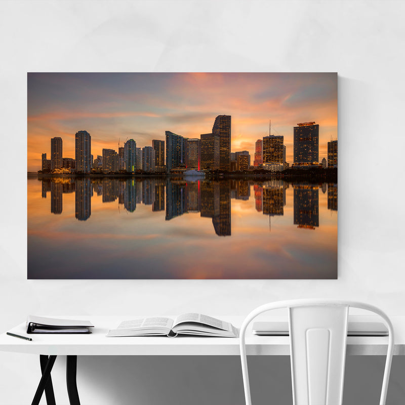 Miami Florida Skyline Sunset Metal Art Print