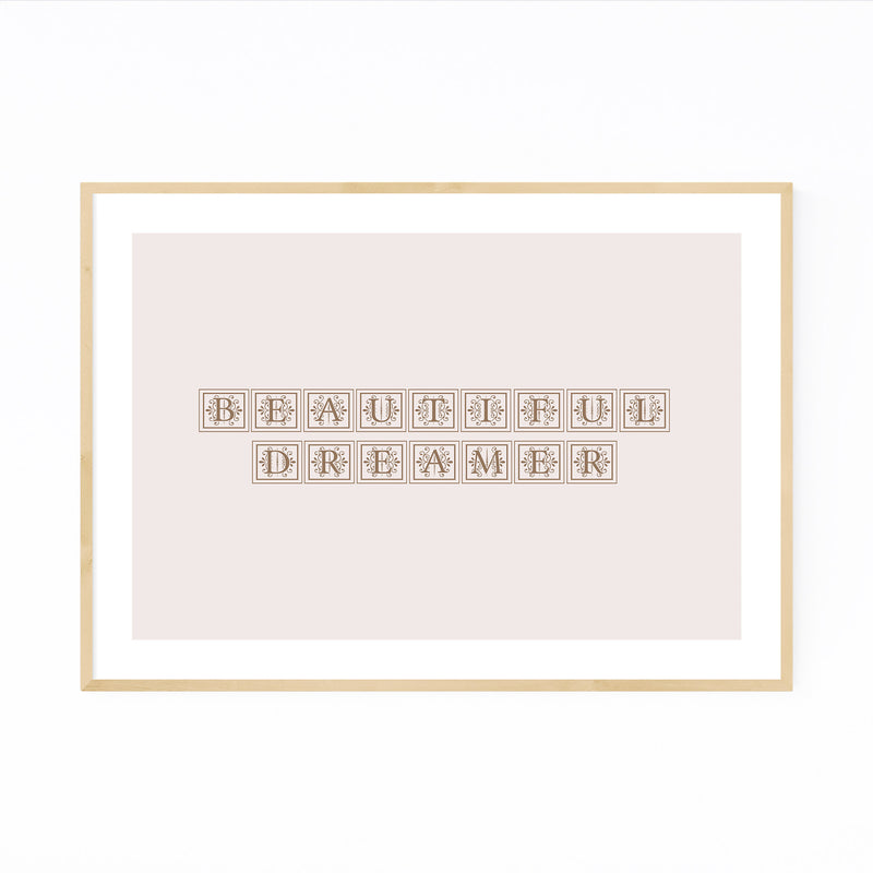 Dreamer Inspiring Typography Framed Art Print
