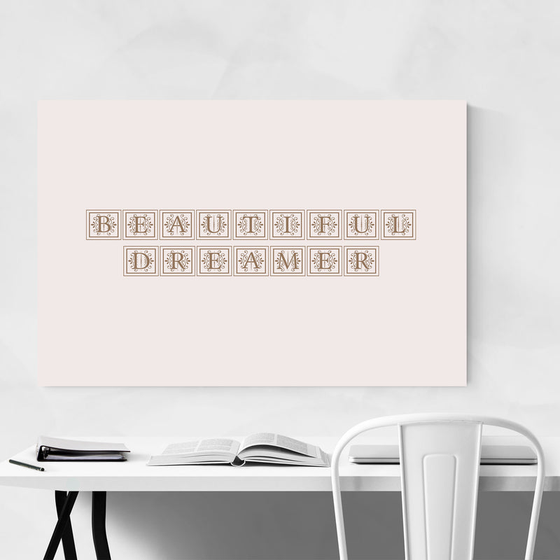 Dreamer Inspiring Typography Canvas Art Print