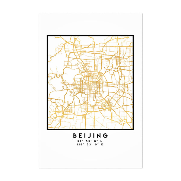 Minimal Beijing City Map Art Print