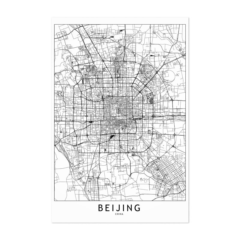 Beijing Black & White City Map Art Print