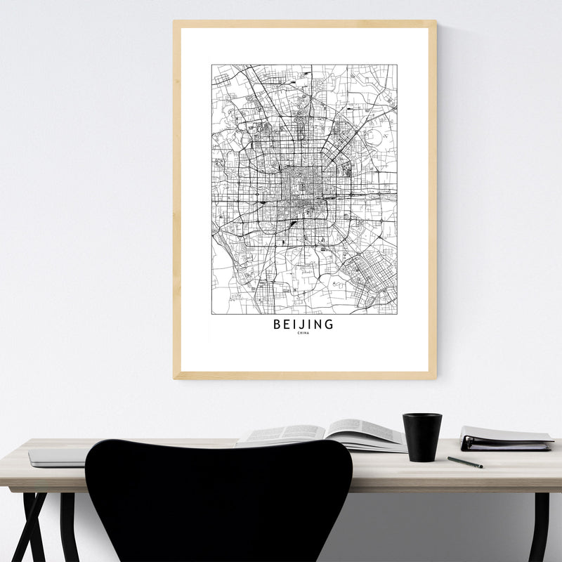 Beijing Black & White City Map Framed Art Print