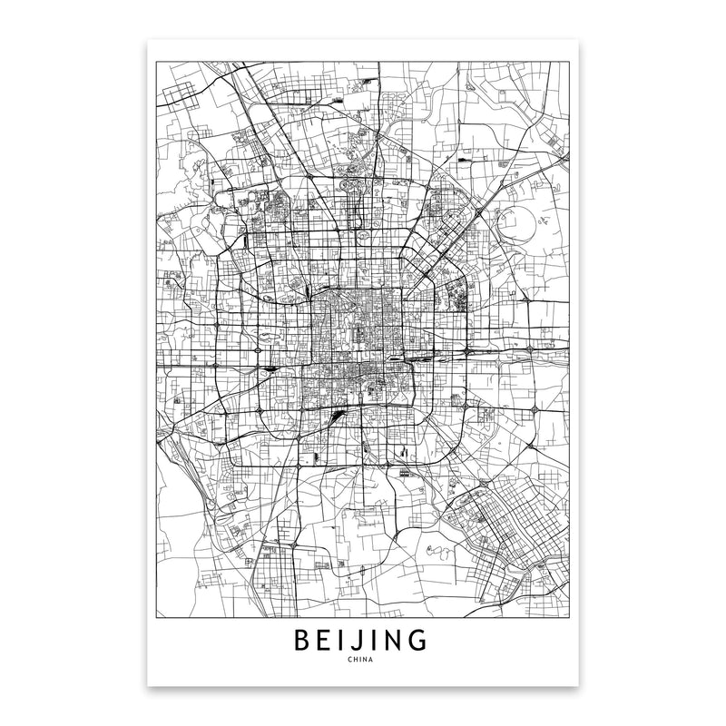 Beijing Black & White City Map Metal Art Print