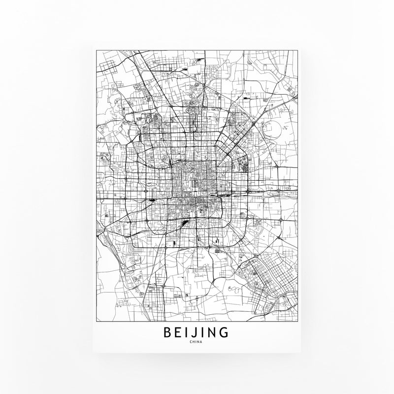 Beijing Black & White City Map Canvas Art Print