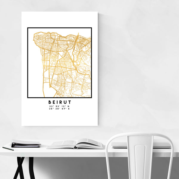 Minimal Beirut City Map Art Print