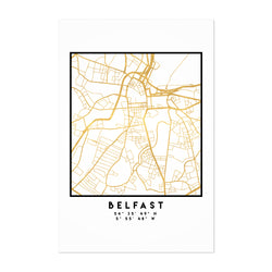 Minimal Belfast City Map Art Print