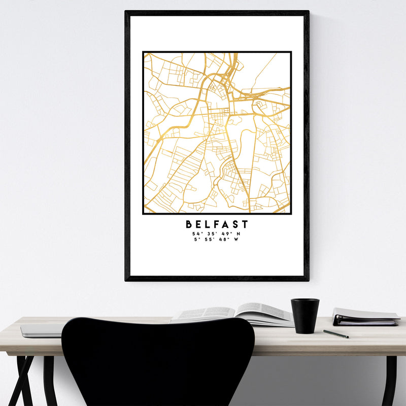 Minimal Belfast City Map Framed Art Print