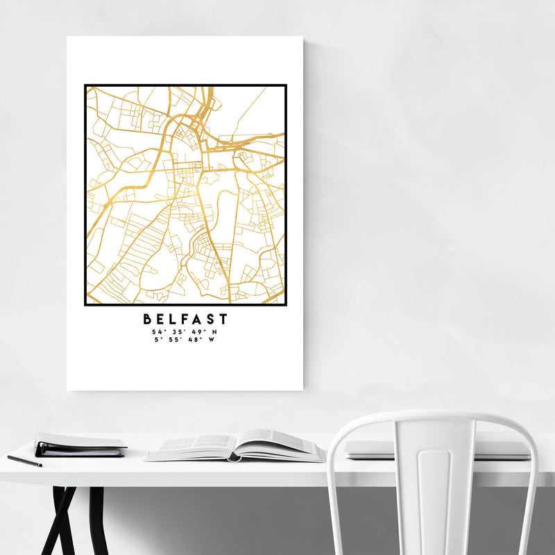 Minimal Belfast City Map Canvas Art Print