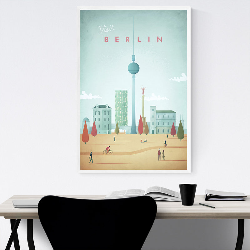 Minimal Travel Poster Berlin Framed Art Print