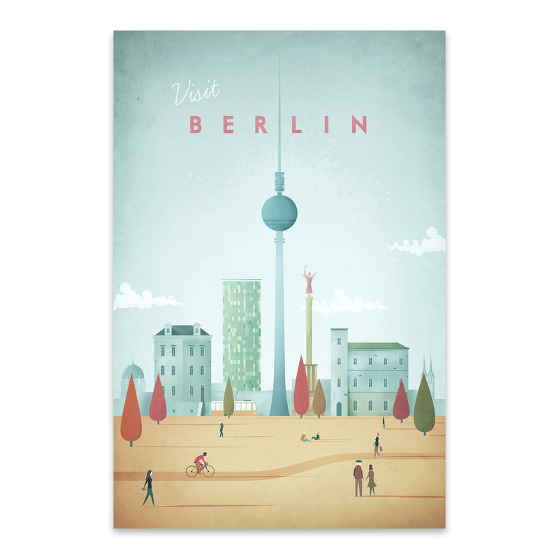 Minimal Travel Poster Berlin Metal Art Print