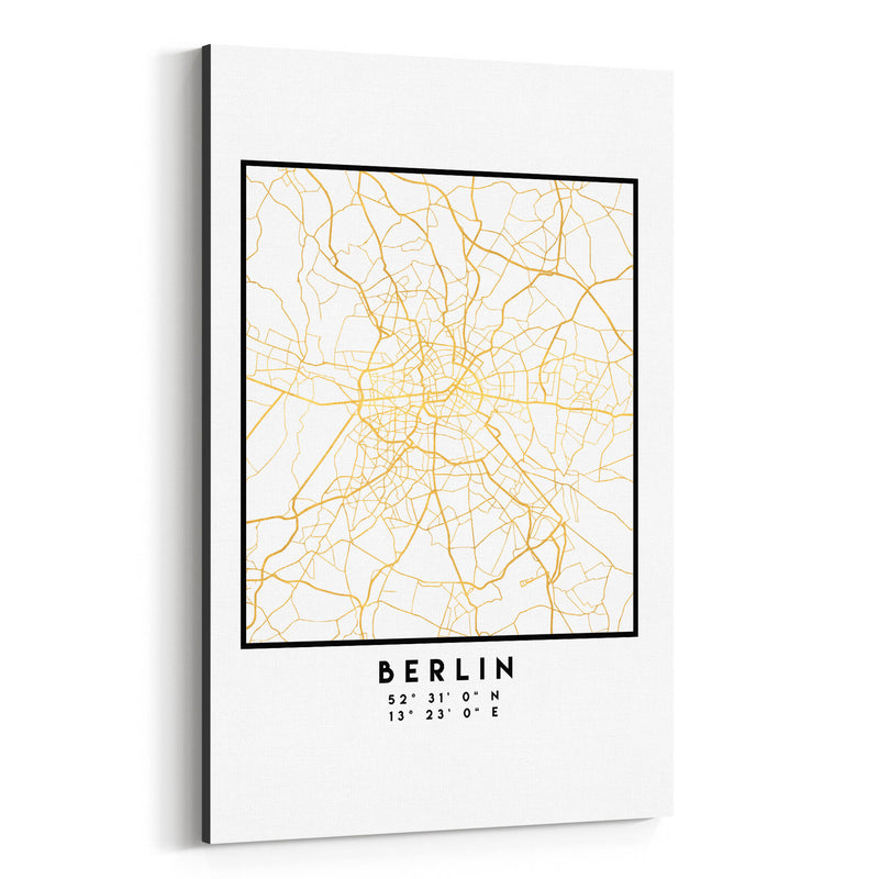 Minimal Berlin City Map Canvas Art Print