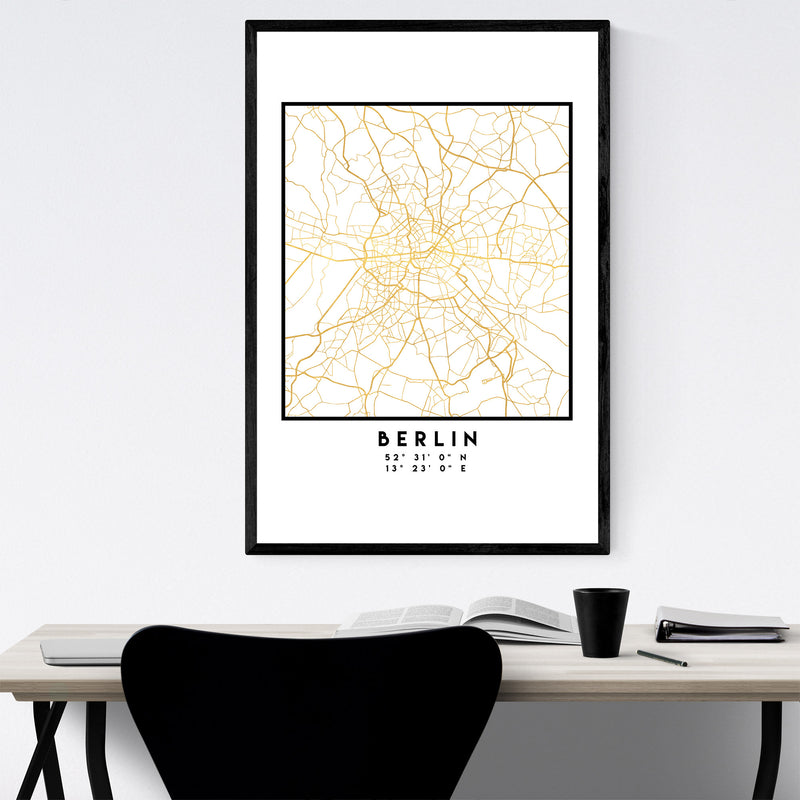 Minimal Berlin City Map Framed Art Print