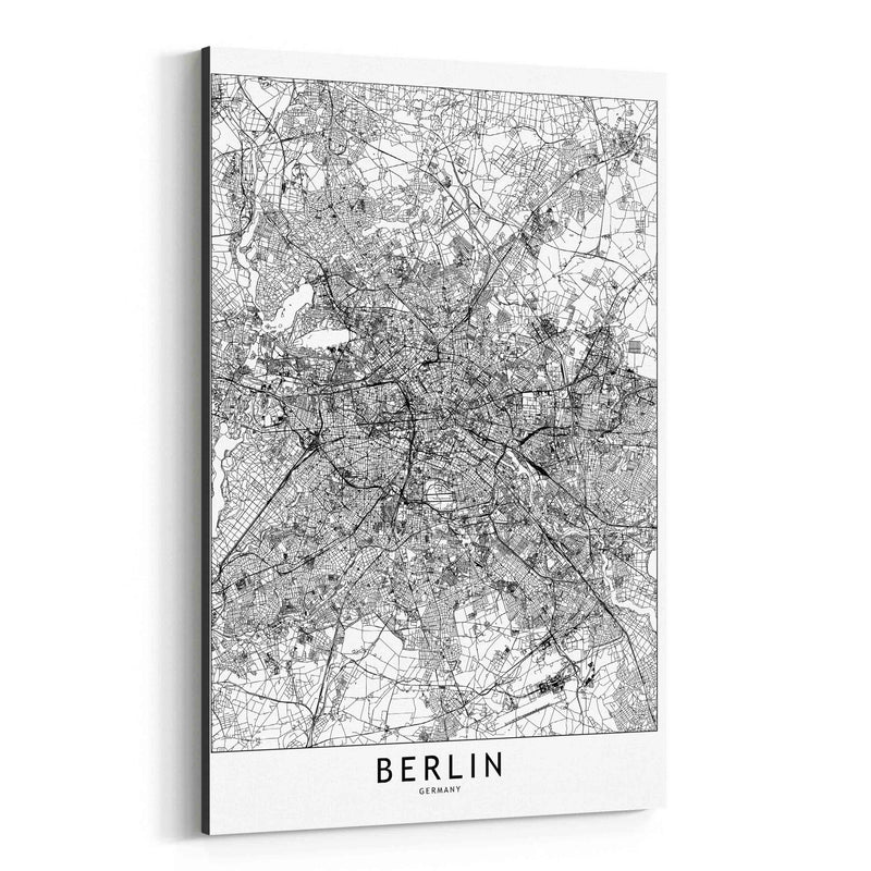 Berlin Black & White City Map Canvas Art Print