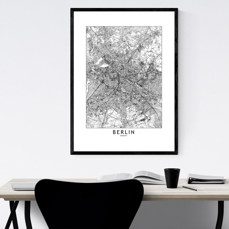 Berlin Black & White City Map Framed Art Print