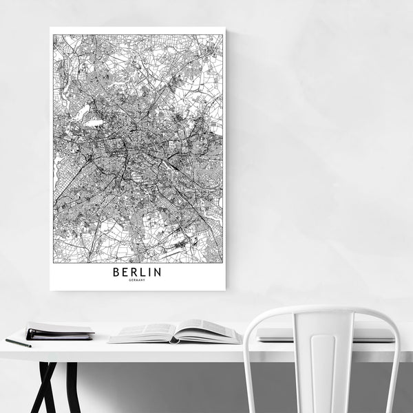 Berlin Black & White City Map Art Print