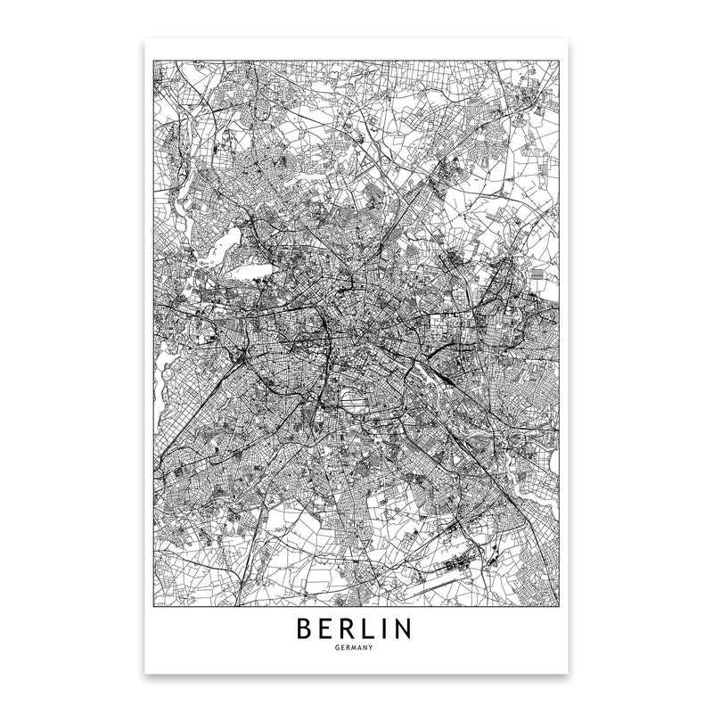 Berlin Black & White City Map Metal Art Print