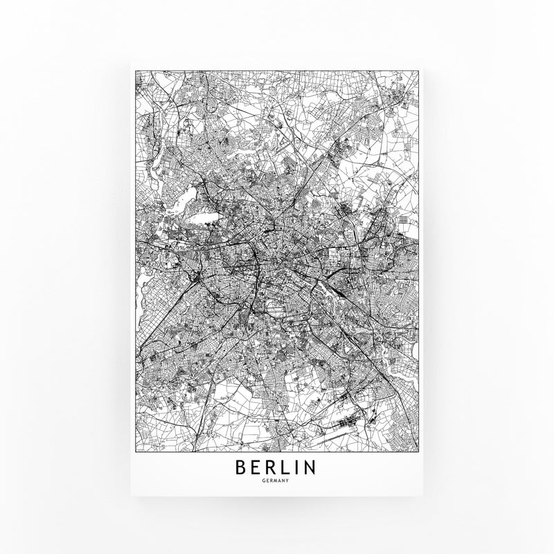 Berlin Black & White City Map Mounted Art Print