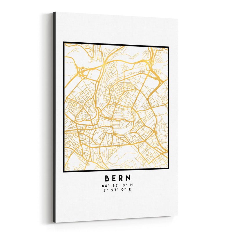 Minimal Bern City Map Canvas Art Print