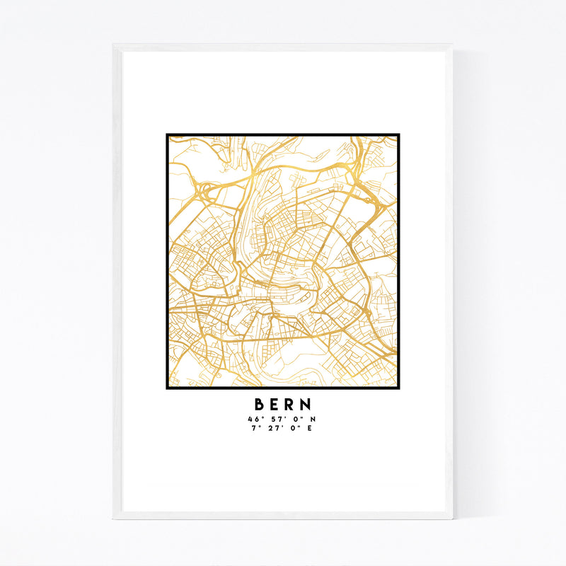 Minimal Bern City Map Framed Art Print