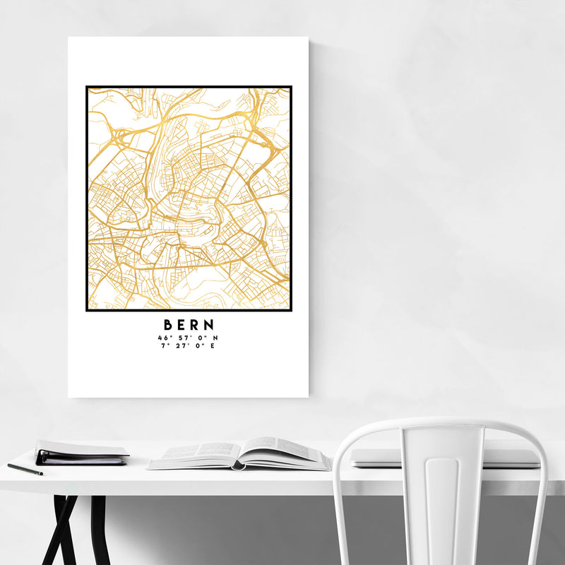 Minimal Bern City Map Metal Art Print