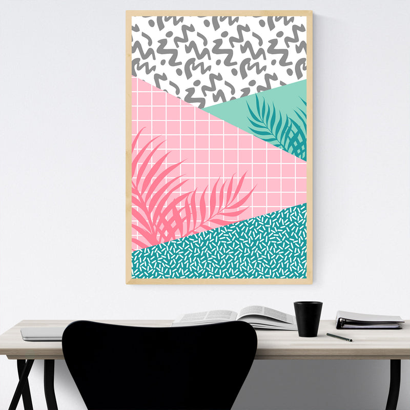 Retro Abstract Neon 80's Pattern Framed Art Print