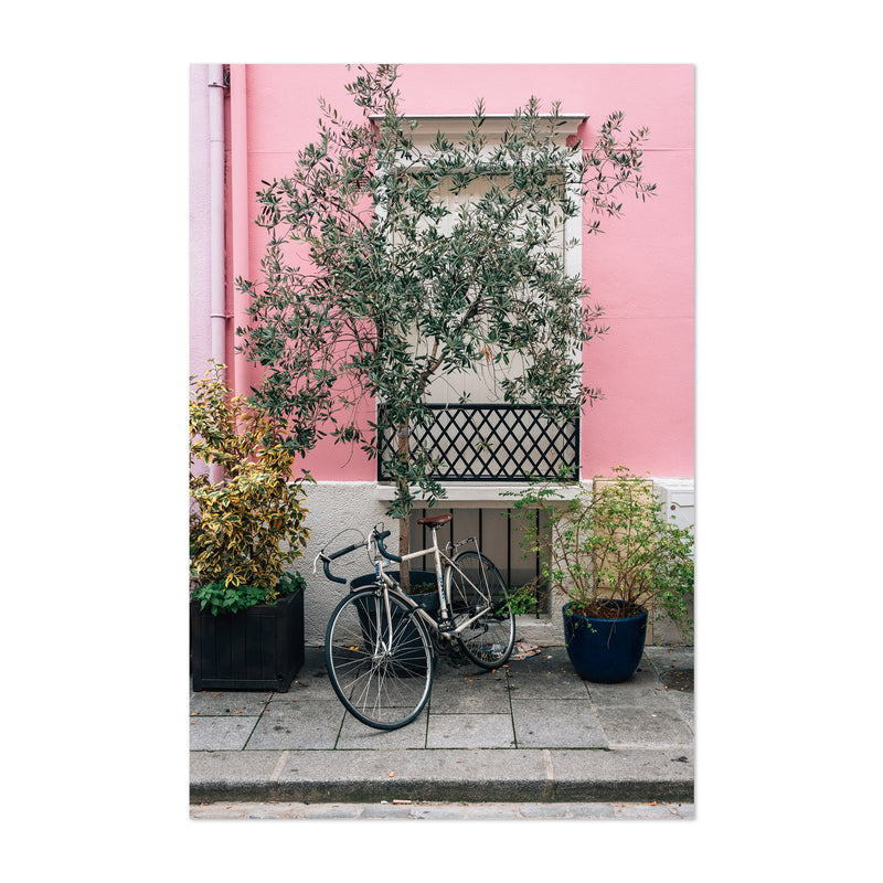 Bike Pink House Paris France Art Print