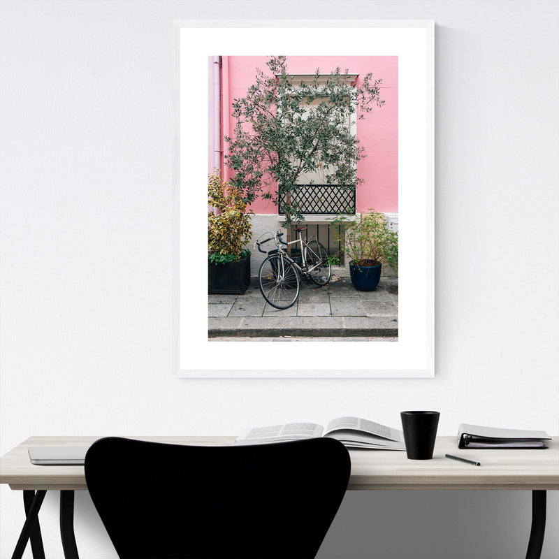 Bike Pink House Paris France Framed Art Print