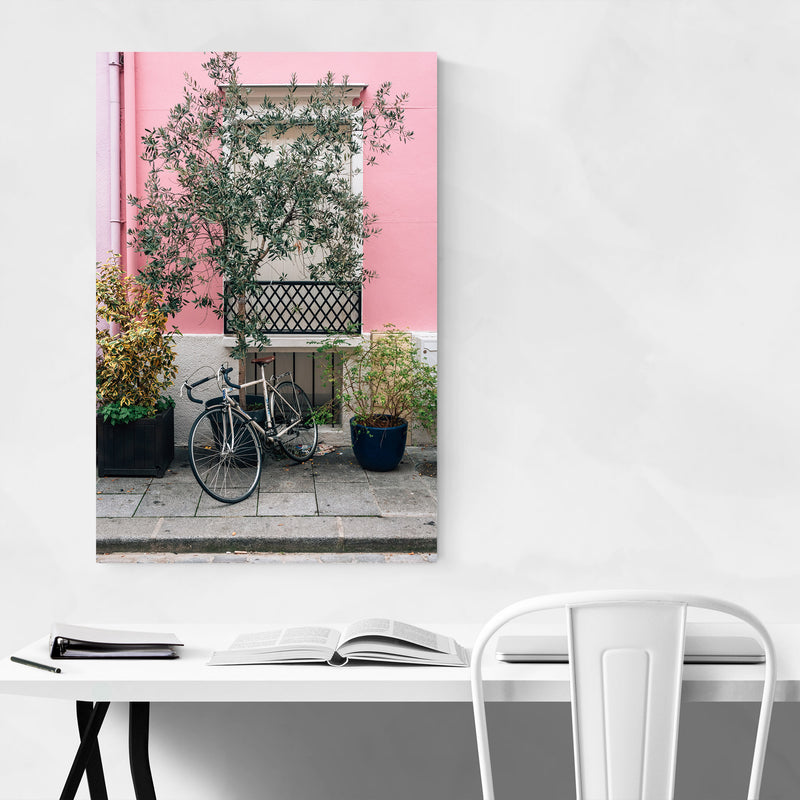Bike Pink House Paris France Canvas Art Print