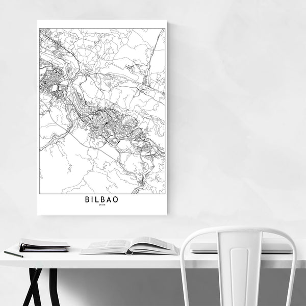 Bilbao Black & White City Map Art Print