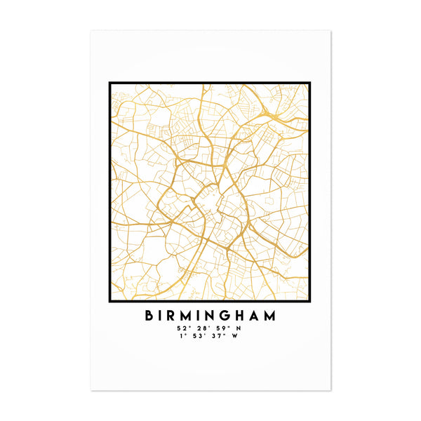 Minimal Birmingham City Map Art Print